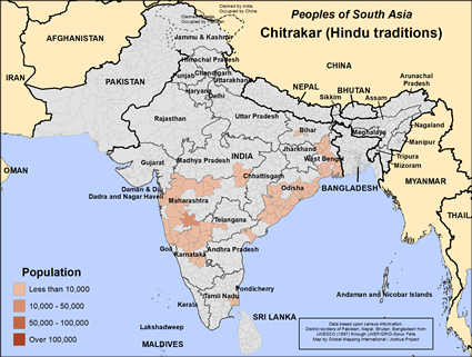 Map of Chitrakar (Hindu traditions) in India