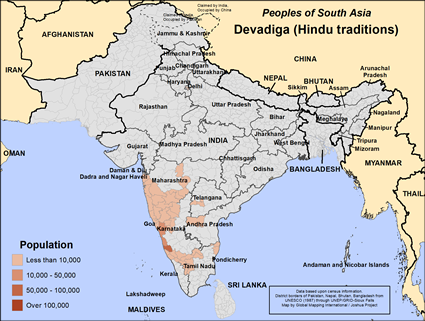 Map of Devadiga (Hindu traditions) in India
