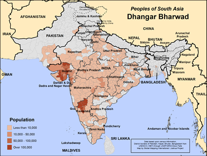 Map of Dhangar Bharwad in India