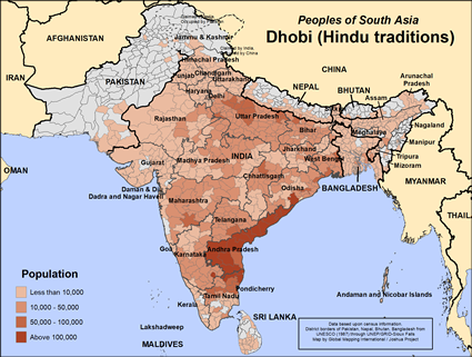 Map of Dhobi (Hindu traditions) in India