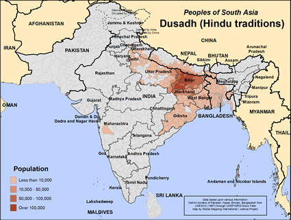 Map of Dusadh (Hindu traditions) in India
