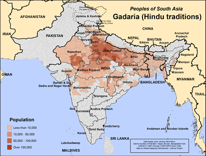 Map of Gadaria (Hindu traditions) in India
