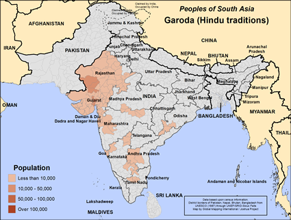 Map of Garoda (Hindu traditions) in India