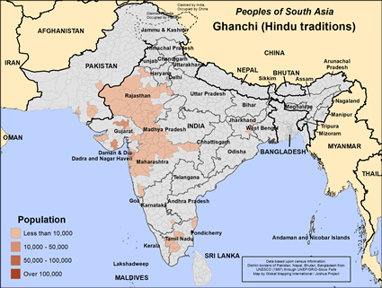 Map of Ghanchi (Hindu traditions) in India