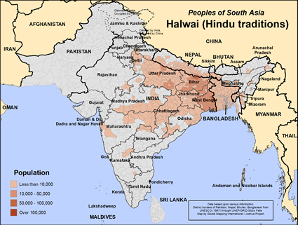 Map of Halwai (Hindu traditions) in India