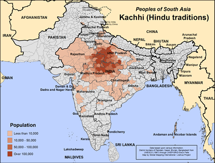 Map of Kachhi (Hindu traditions) in India