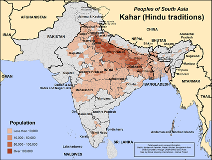 Map of Kahar (Hindu traditions) in India