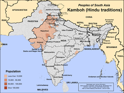 Map of Kamboh (Hindu traditions) in India