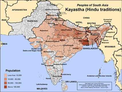 Map of Kayastha (Hindu traditions) in Nepal