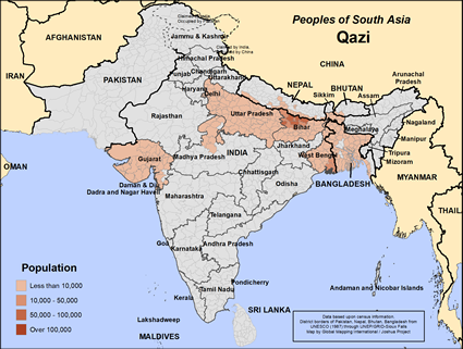 Map of Qazi in India
