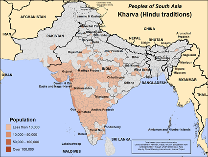 Map of Kharva (Hindu traditions) in India