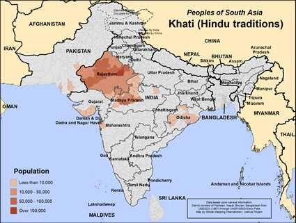 Map of Khati (Hindu traditions) in Pakistan