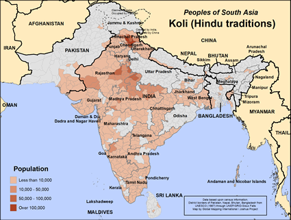 Map of Koli (Hindu traditions) in India