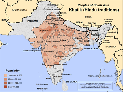 Map of Khatik (Hindu traditions) in India