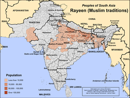 Map of Rayeen (Muslim traditions) in India