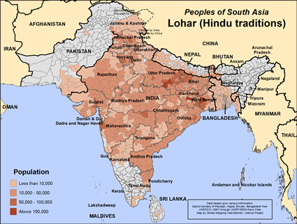 Map of Lohar (Hindu traditions) in India