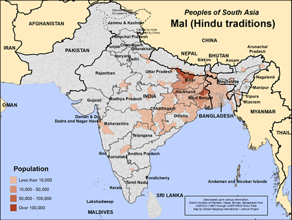 Map of Mal (Hindu traditions) in India