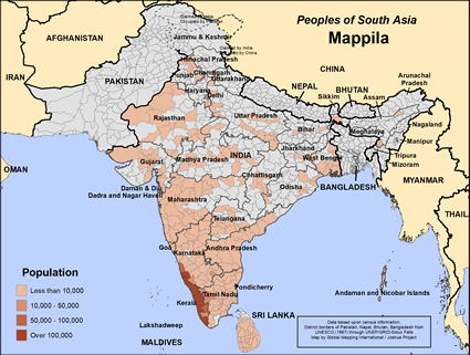 Map of Mappila in India