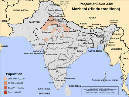 Map of Mazhabi (Hindu traditions) in India