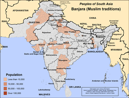 Map of Banjara (Muslim traditions) in India