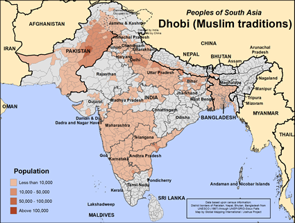 Map of Dhobi (Muslim traditions) in Pakistan