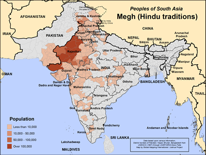Map of Megh (Hindu traditions) in India