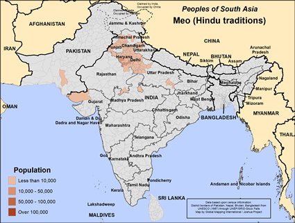 Map of Meo (Hindu traditions) in India