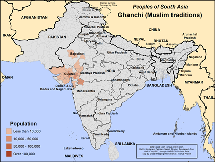 Map of Ghanchi (Muslim traditions) in India