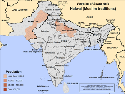 Map of Halwai (Muslim traditions) in India