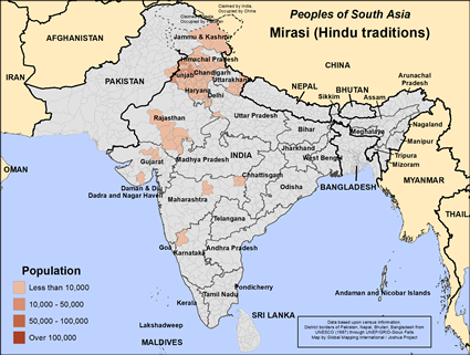 Map of Mirasi (Hindu traditions) in India