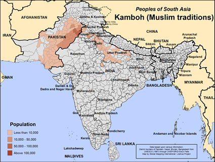 Map of Kamboh (Muslim traditions) in Pakistan