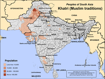 Map of Khatri (Muslim traditions) in Pakistan