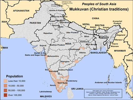 Map of Mukkuvan (Christian traditions) in India