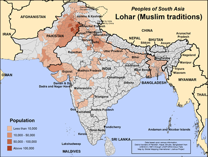 Map of Lohar (Muslim traditions) in Pakistan