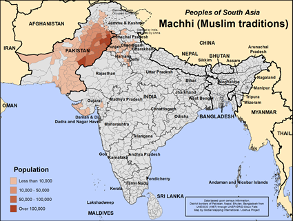Map of Machhi (Muslim traditions) in Pakistan