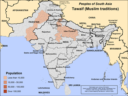 Map of Tawaif (Muslim traditions) in India