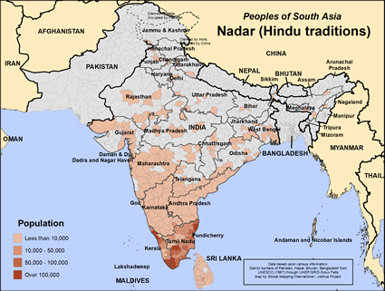 Map of Nadar (Hindu traditions) in India