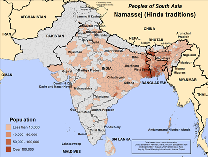 Map of Namassej (Hindu traditions) in India