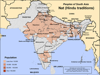 Map of Nat (Hindu traditions) in Bangladesh