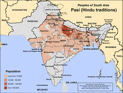 Map of Pasi (Hindu traditions) in Nepal