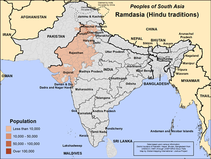 Map of Ramdasia (Hindu traditions) in India