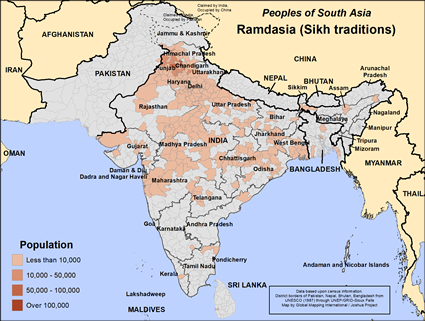 Map of Ramdasia (Sikh traditions) in India