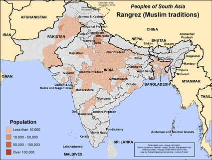 Map of Rangrez (Muslim traditions) in India