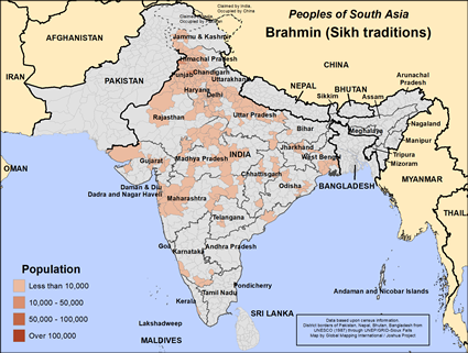 Map of Brahmin (Sikh traditions) in India