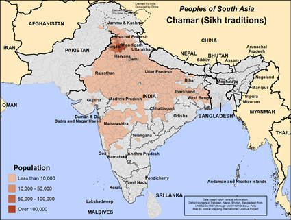 Map of Chamar (Sikh traditions) in India