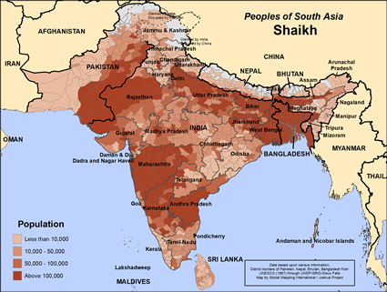 Map of Shaikh in India