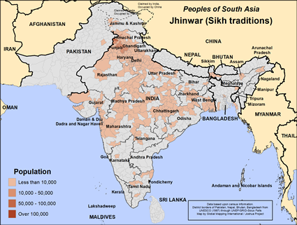Map of Jhinwar (Sikh traditions) in India