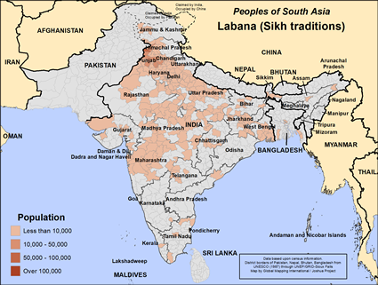 Map of Labana (Sikh traditions) in India