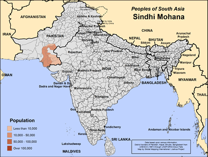 Map of Sindhi Mohana in India