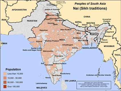 Map of Nai (Sikh traditions) in India